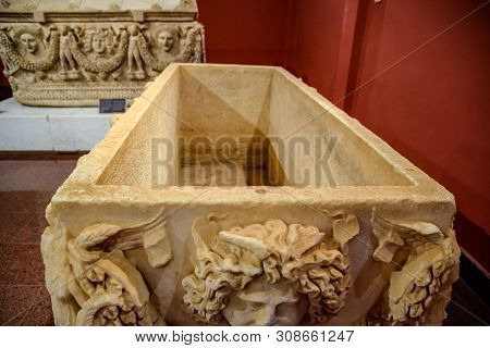 Antalya, Turkey - May 20, 2019: The Inner Part Of The Marble Sarcophagus. Marble Sarcophagus. Sarcop