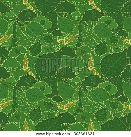 Seamless Pattern, Green Camouflage Of Poplar Leaves And Buds For Fabrics, Wallpapers, Tablecloths, P