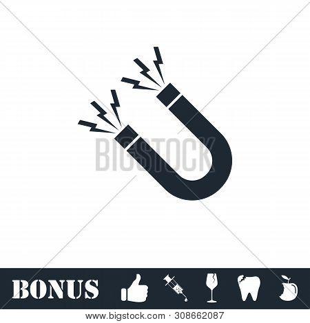 Magnet Icon Flat. Vector Illustration Symbol And Bonus Pictogram