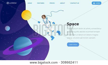 Space Exploration Flat Landing Page Template. Female Cosmonaut In Outer Space, Astronaut Floating In