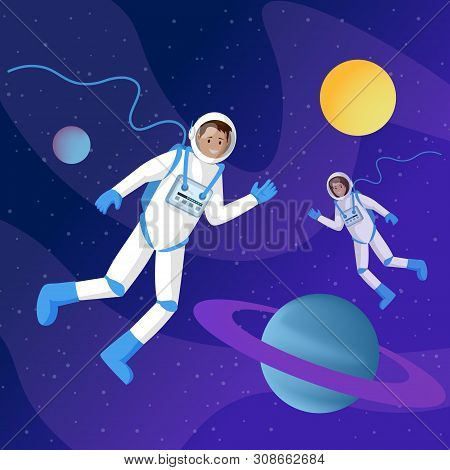 Astronauts In Outer Space Flat Illustration. Two Cosmonauts In Spacesuits Floating In Cosmos Zero Gr