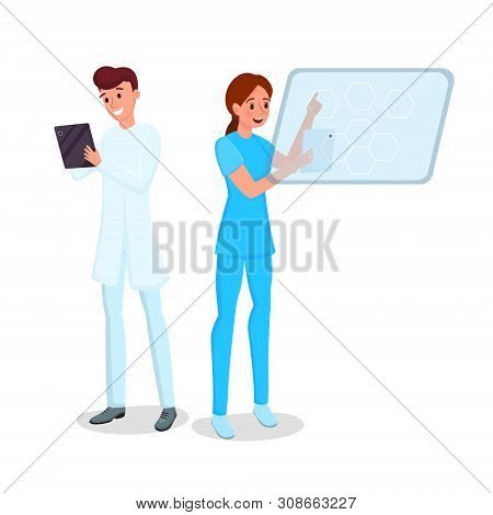 Medicine Computerization Flat Vector Illustration. Smiling Young Doctor And Nurse With Tablets Carto