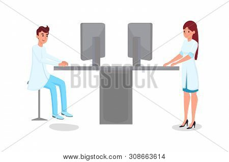 Hospital Computerization Flat Vector Illustration. Young Male And Female Doctors, Scientists In Whit