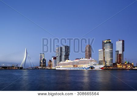 Rotterdam, Netherlands - June 27, 2019: Cruise Ship Aida Perla Moored At The Wilhelminapier On The K