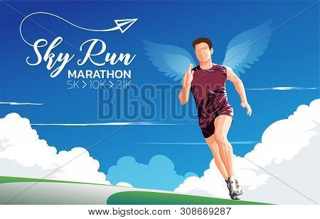 A Theme, A Key Visual, An Illustration Of Marathon Runners With The Wings On Back Under The Blue Sky