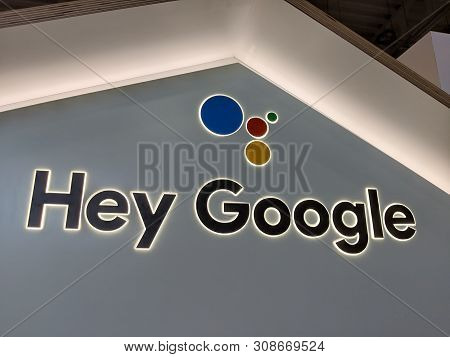 Honolulu -  March 16, 2019:  Hey Google Sign.  Close-up Of Google Home, Mini, Max, Other Devices, An