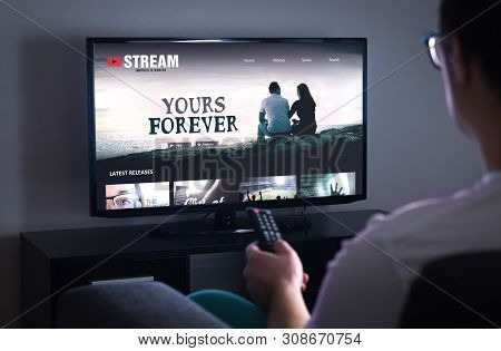 Online Movie Stream Service In Smart Tv. Streaming Series With On Demand Video (vod) Service In Tele