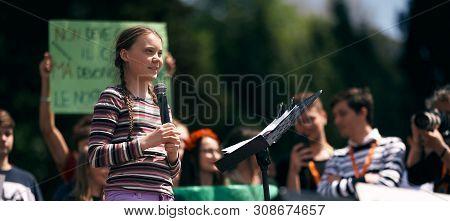 Rome, Italy - April 19, 2019: Swedish Climate Activist Greta Thunberg Attending Fridays For Future (