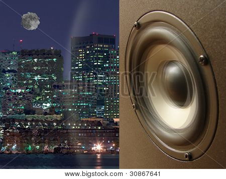 Acoustic System And Sound Wave Against A City