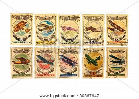 Old Soviet Stamps With The Image Of Planes