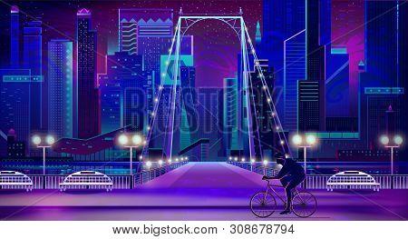Metropolis Night Cityscape With Illuminated Skyscrapers, Bridge Over River, Benches On Shore Cartoon