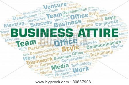 Business Attire Word Cloud. Collage Made With Text Only.