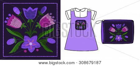 Stylized Satin Stitch Bouquet Of Bells. Vector Illustration