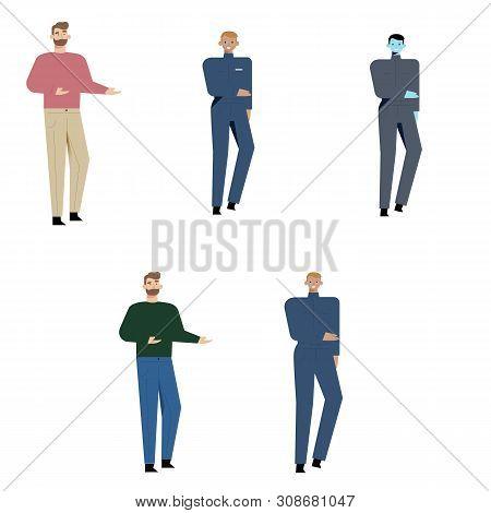 Male Character Set. Cartoon Flat-style Infographic Illustration