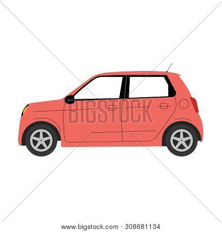 Red Euro Mini Car Icon Vector Illustration