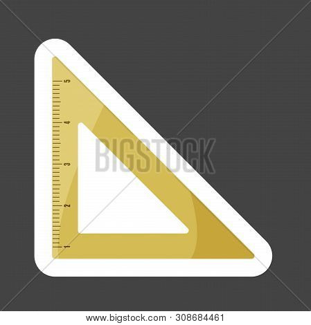 Vector Icon Colored Sticker Of Triangle Ruler. Metric System. School Measuring Lance. Measuring Tape