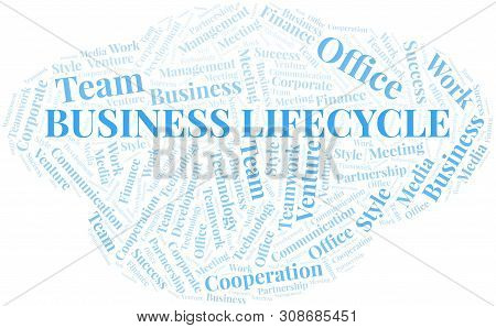 Business Lifecycle Word Cloud. Collage Made With Text Only.