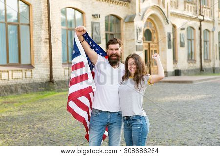 American Couple Usa Flag. Patriotic Spirit. Independence Day. American Tradition. Students Exchange