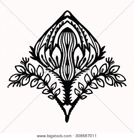 Ornamental Flower Folk Art Graphic Design Element. Hand Drawn Linocut Block Print Style. Black Folkl