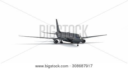 Blank Black Airplane Mockup Stand, Front View Depth Of Field, 3d Rendering. Dark Plain Stealth Air B