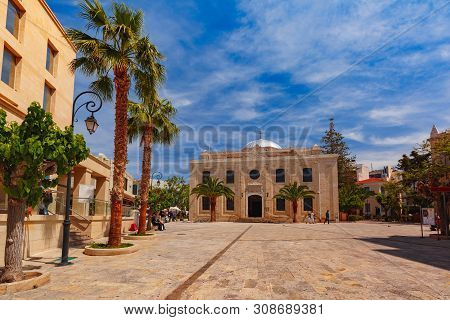 The Medieval City With Basilica Of St Titus, The Patron Saint Of Crete During The Medieval Times, In