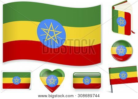Ethiopian Flag In Seven Shapes. Editable With Separate Layers.