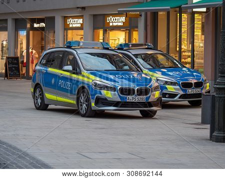 Augsburg, Germany - March 26, 2019: German Police Car From The State Of Bavaria With The Letters Pol
