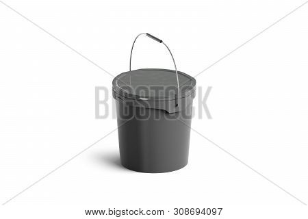 Blank Black Paint Bucket With Handle Mock Up Isolated, Side View. 3d Rendering. Sealed Industrial Ba