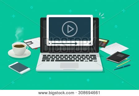 Workplace And Working On Laptop Watching Video Player, Concept Of Webinar, Business Online Training,