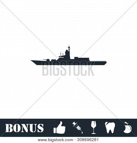 Warship Icon Flat. Vector Illustration Symbol And Bonus Pictogram