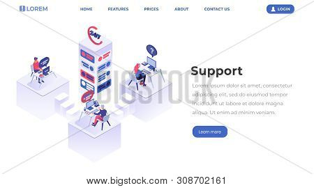 Support Center Isometric Landing Page. Customer Service Operators Working At Helpline, Managers At W