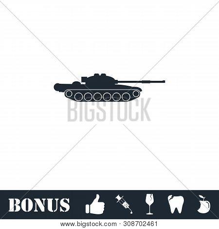 Tank Army Icon Flat. Vector Illustration Symbol And Bonus Pictogram