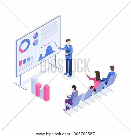Business Presentation Vector Isometric Illustration. Market Analyst, Boss, Office Workers 3d Cartoon