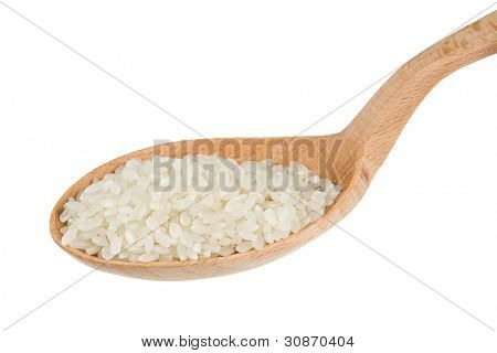 uncooked rice in wooden spoon isolated on white background
