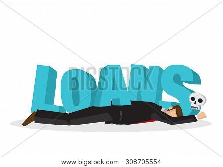Businessman Attacks, Fall And Collapse By Giant Lettering