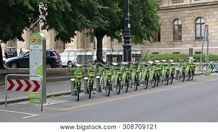Budapest, Hungary - July 13, 2015: Bicycle Sharing Service Mol Bubi Rental At Street In Budapest, Hu