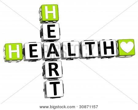 3D Health Heart Crossword Block Button Text