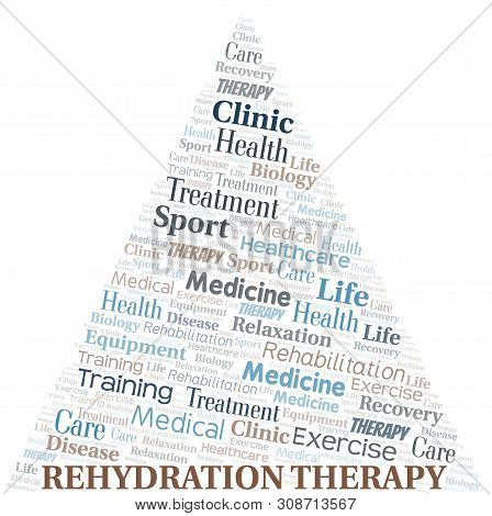 Rehydration Therapy Word Cloud. Wordcloud Made With Text Only.