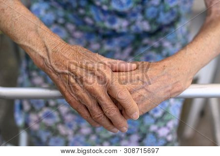 Old Ladys Hand. Elderly Lady Is Waiting For Help. Senior Lady Experiencing Bad Service And Condition