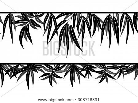 Seamless Background With Pictogram Leaves Of Willow Tree, Nature Pattern, Isolated On White. Vector