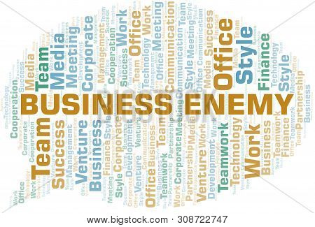 Business Enemy word cloud. Collage made with text only. poster