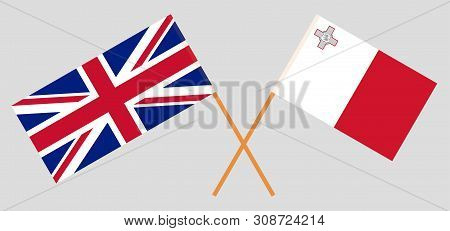The  Uk And Malta. British And Maltese Flags. Official Colors. Correct Proportion. Vector Illustrati