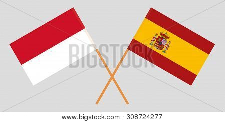 Indonesia And Spain. The Indonesian And Spanish Flags. Official Colors. Correct Proportion. Vector I