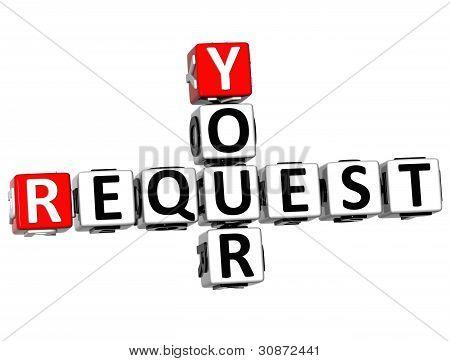 3D Your Request Crossword Text