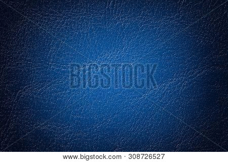 Dark Navy Blue Leather Texture Background, Closeup. Denim Cracked Backdrop From Wrinkle Skin, Struct