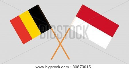Indonesia And Belgium. The Indonesian And  Belgian Flags. Official Colors. Correct Proportion. Vecto