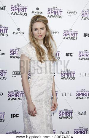SANTA MONICA, CA - FEB 25: Brit Marling at the 2012 Film Independent Spirit Awards on February 25, 2012 in Santa Monica, California