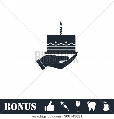 Pie Icon Flat. Vector Illustration Symbol And Bonus Pictogram