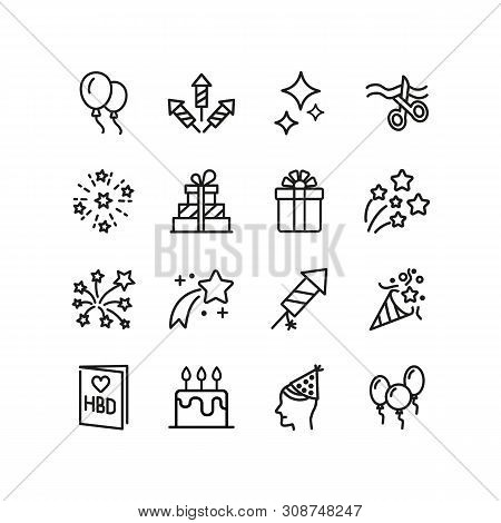 Happy Birthday Line Icon Set. Fireworks, Present, Decoration. Holiday Concept. Can Be Used For Topic