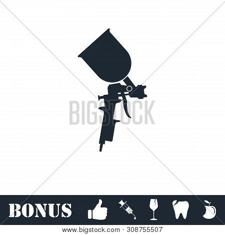 Pulverizer For Painting Icon Flat. Vector Illustration Symbol And Bonus Pictogram